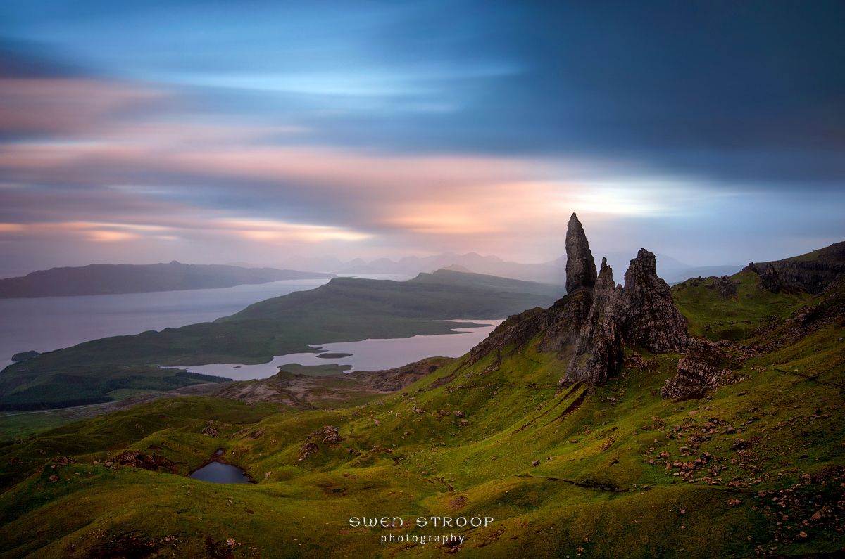 Moody evening with Old Man of Storr, Isle of Skye, Scotland